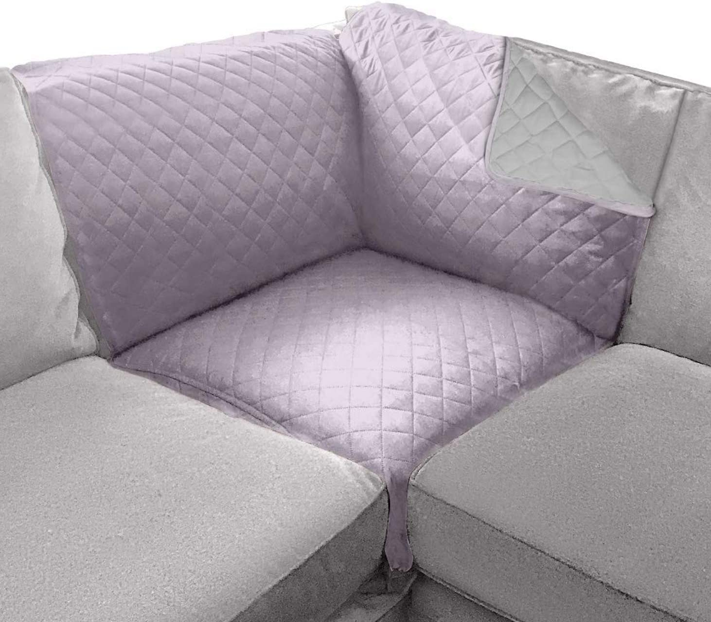 Sofa Shield Original Patent Pending Reversible Sofa Corner Sectional Protector, Many Colors, 30x30 Inch, Washable Furniture Protector, 2 Inch Strap, Sectional Slip Cover for Pets, Kids, Purple Lt Gray