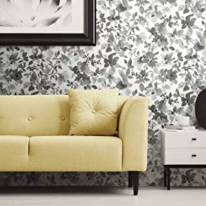 RoomMates Black Watercolor Floral Peel and Stick Wallpaper