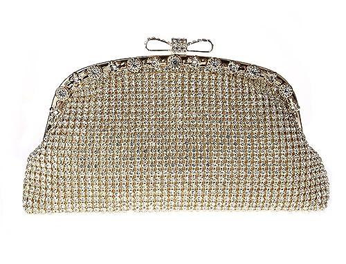 Pulama Clutch Cristal de Mujer Rhinestone Cartera Boda Fiesta de Noche Bolso de Mano: Amazon.es: Zapatos y complementos