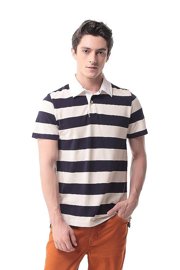 T-07 Hombre Polo de Rayas Manga Corta Camisa Sport Tennis Golf(M ...