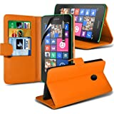 Fone-Case (Orange) Case Executive Wallet Book Style Cover Made From PU Leather with 3 Credit Card Holder slots with 1 Screen Protector for Nokia Lumia 530