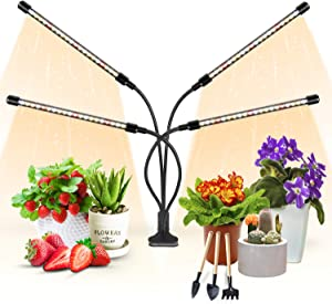 Plant Light for Indoor Plants, Aokrean Upgraded 4 Arms Grow Light Full Spectrum with 3/9/12H Timer 10 Dimmable Levels, Desk Plant Lamp for Greenhouse Hydroponics Succulent Veg Bloom