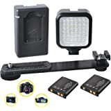 CONTINUOUS LIGHTING: Powerful LED Light Panel for Sony FDR-AX33 Camcorder, Includes: Flash Bracket -2 Rechargeable Batteries - Charger - Built in Diffuser - Shoe Mount Adapter - Ultra Bright!