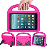 LEDNICEKER Kids Case for Fire 7 2017 - Light Weight Shock Proof Handle Friendly Convertible Stand Kids Case for Fire 7 inch Display Tablet (2017 Release), Magenta/Rose