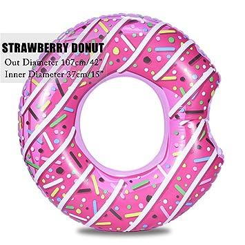 """107cm 42"""" Donut inflable gigante Anillo de natación piscina Flotadores Círculo playa mar parte colchón"""