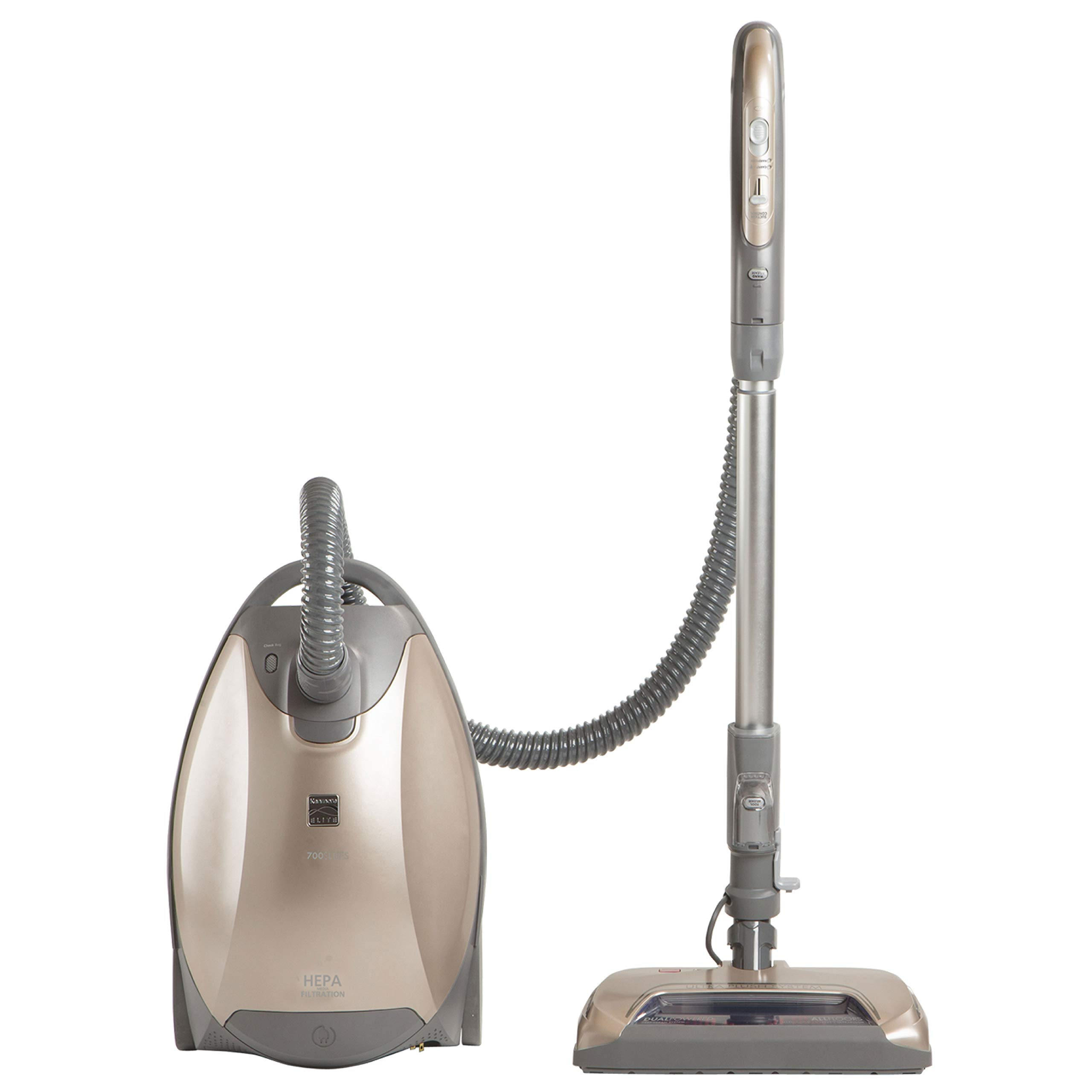 Kenmore Elite 81714 Pet Friendly Ultra Plush Lightweight Bagged Canister Vacuum with Pet PowerMate, HEPA, Extended Telescoping Wand, Retractable Cord,  and 3 Cleaning Tools-Champagne by Kenmore