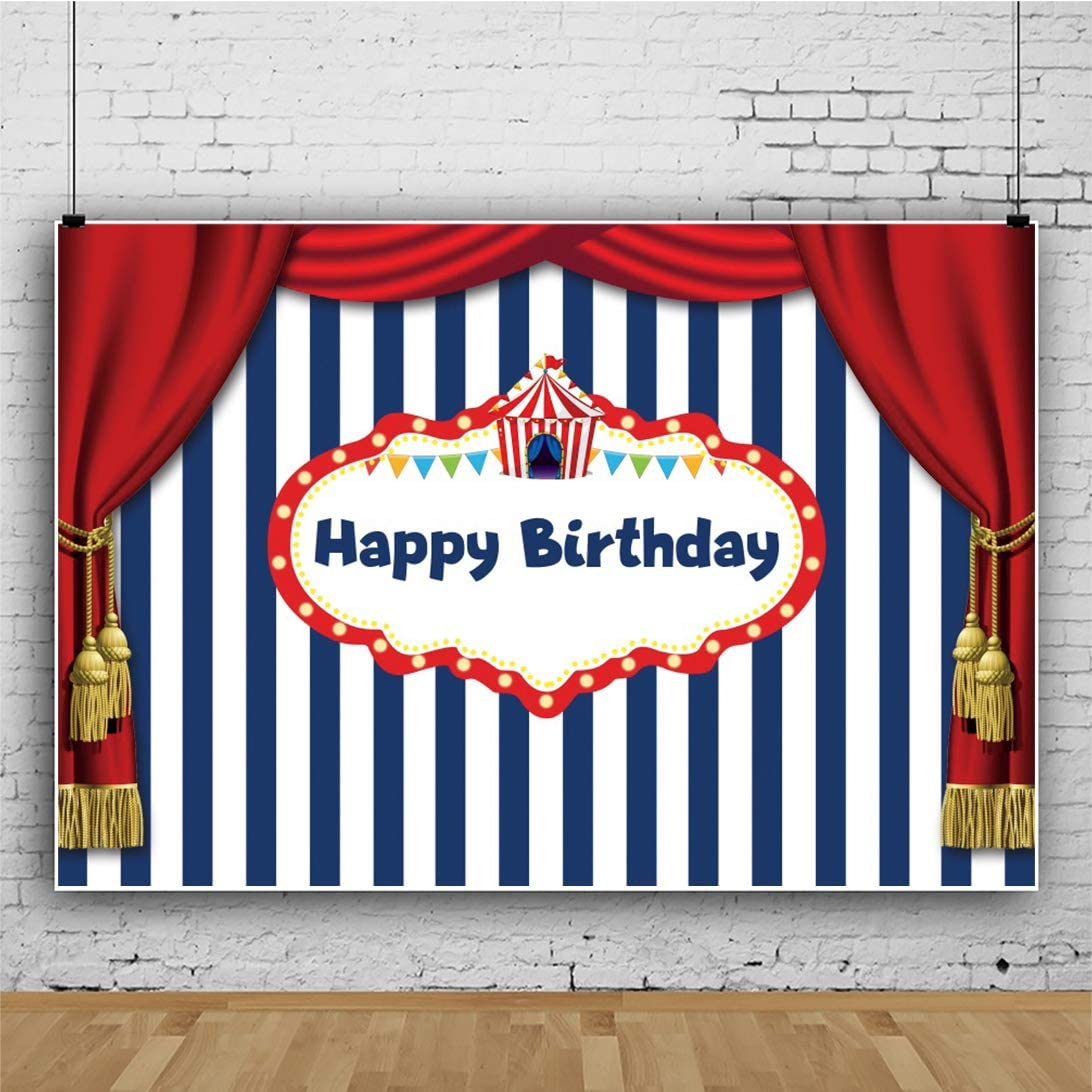 Haoyiyi 10x8ft Happy Birthday Background Red Curtain Photo White and Blue Stripes Gold Dot Backdrop Background Photography Girl Boy Party Birthday Baby Shower Decorations Banner Supplies