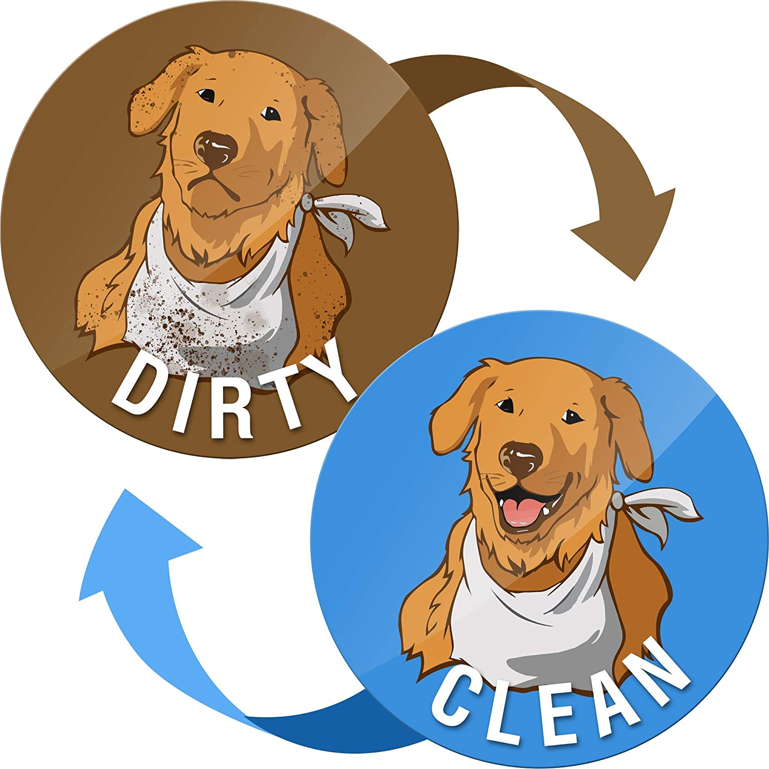 Dishwasher Magnet Clean Dirty Sign Indicator - Clean Dirty Dishwasher Magnet Funny Golden Retriever - Waterproof and Double Sided Flip with Bonus Metal Plate