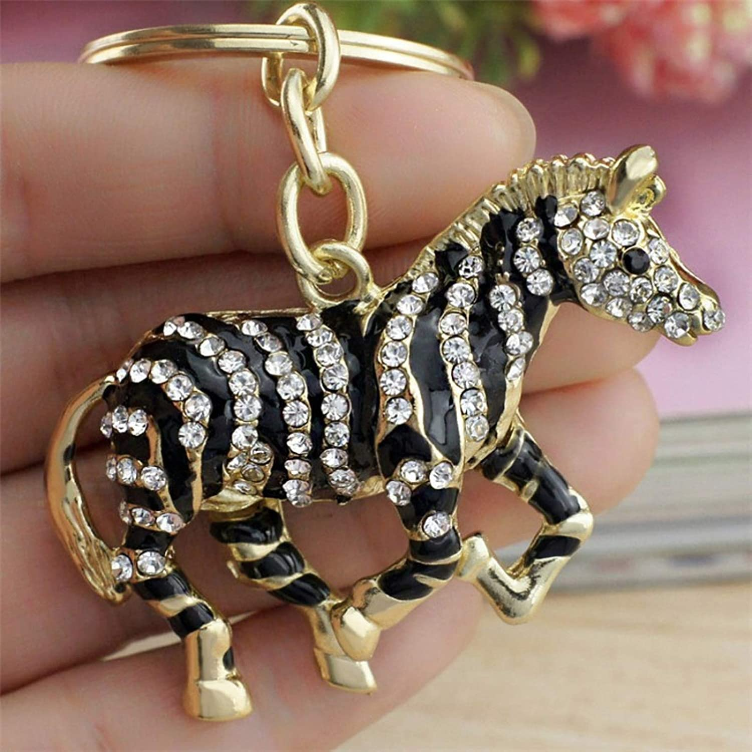 Amazon.com   Black Zebra Horse Crystal Rhinestone Metal Bag Pendant Key  Chains Holder Women Keyrings Keychains for Car   Office Products 788785964b