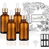 PrettyCare Eye Dropper Bottles 1oz 4 Pack (Amber Glass Bottle 30ml with Golden Caps, Extra Eye Dropper, 12 Lables…