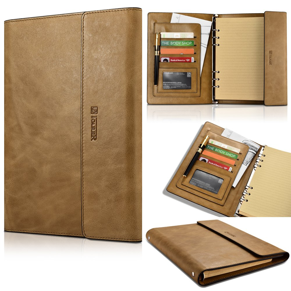 Size A5 Refillable Leather Journal Refillable Travelers Notebook AMAZING BUNDLE Vintage Antique Genuine Leather Travel Diary + Pen + Penholder + Zipper + Card Pocket + Notes Sketching Drawing (yellow) by Aroko