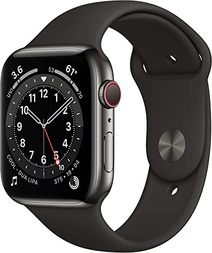 New Apple Watch Series 6 (GPS + Cellular, 44mm) - Graphite Stainless Steel Case with Black Sport Band