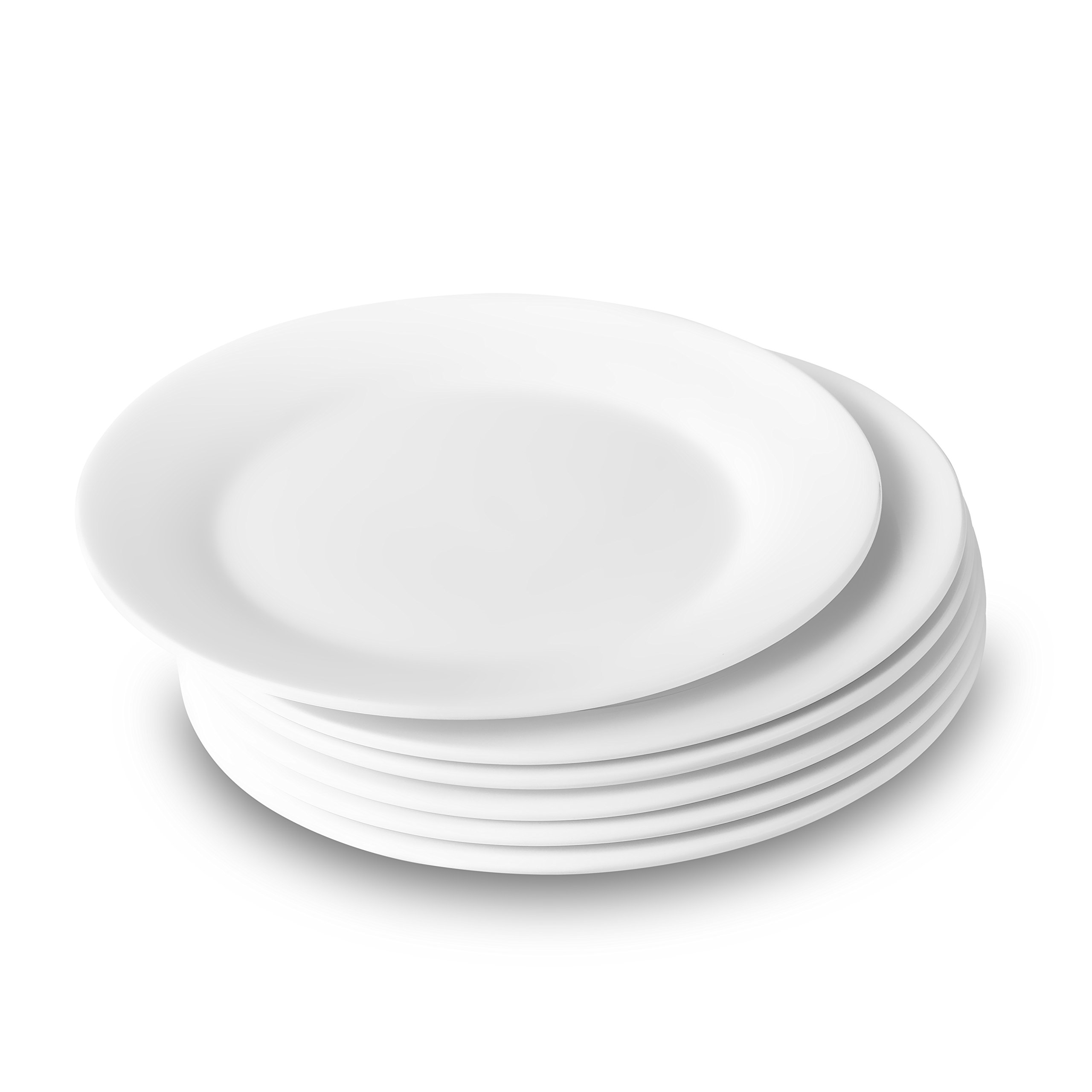 Nucookery 8 Inch White Dinner Plates | Porcelain Dishes | Medium, Microwave-Safe, Dishwasher-Safe 6pc Ceramic Dinnerware Set (8 Inch) by Nucookery (Image #2)