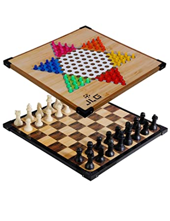 JLG Wooden Chinese Checker and Chess Board(12X12) with Tokens & Wooden Chessmen
