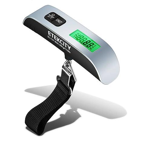 ETEKCITY EL11H Báscula Digital de Equipaje 50kg, Balanza Ergonómica con Sensor de Temperatura, Dinamometro