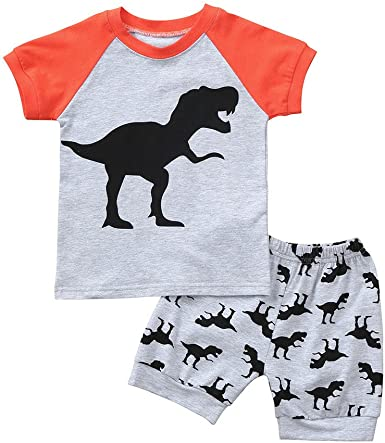 Kehen Infant Baby Toddler Boy 2pc Summer Outfits Dinosaurs Cartoon Printed T-Shirt Tops Shorts Casual Clothes Set