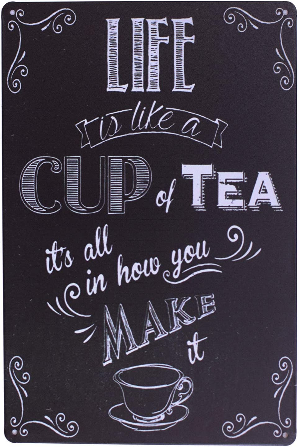 ARTCLUB Enjoy Your Life Metal Plate Sign, Life is Like a Cup of Tea Funny Saying Antique Plaque Vintage Poster Kitchen Living Room Wall Decor