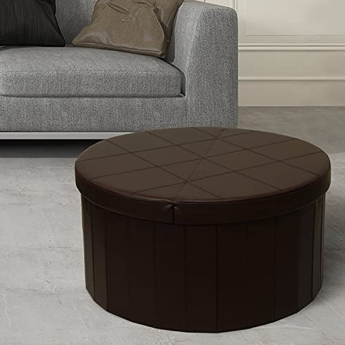 Otto Ben 30 Storage Coffee Table with Smart Lift Top Folding Round Faux Leather Trunk Ottomans Bench Foot Rest, Chocolate