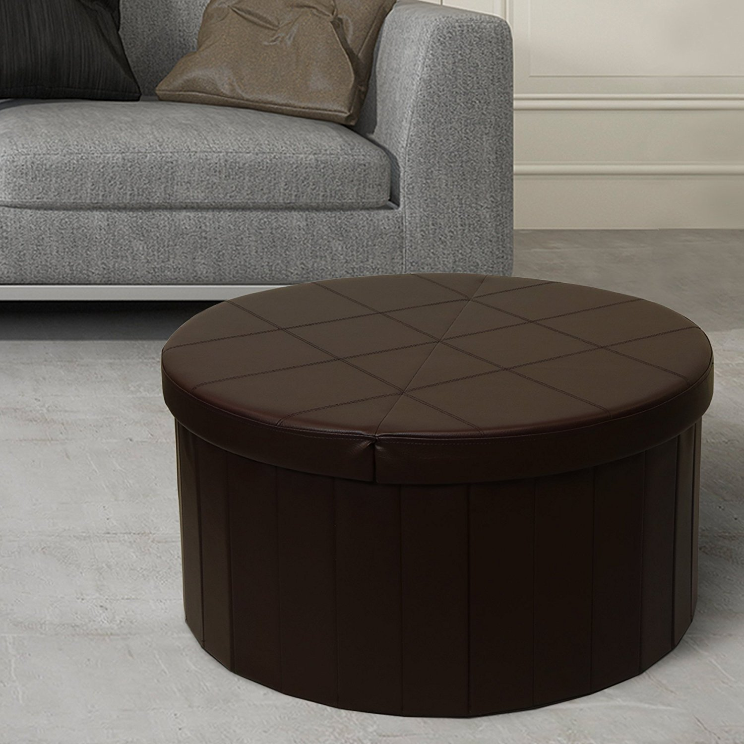 Otto & Ben 30'' Storage Coffee Table with Smart Lift Top Folding Round Faux Leather Trunk Ottomans Bench Foot Rest, Chocolate