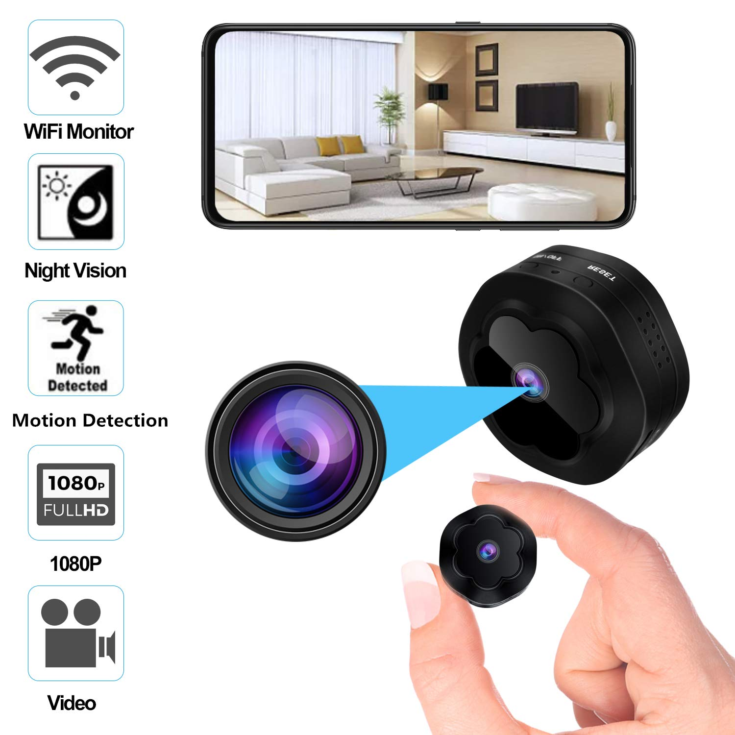 Mini Spy Hidden Camera WiFi Wireless Camera 1080P HD Remotely Monitor, Motion Detection Recording with Night Vision View for Home Security,Indoor Small Hidden Camera Nanny Cam for Children/Office by Beraspot