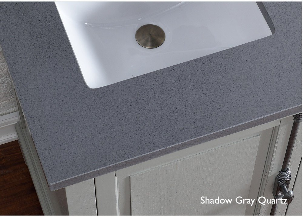 good Double Bathroom Vanity with Shadow Gray Quartz Top