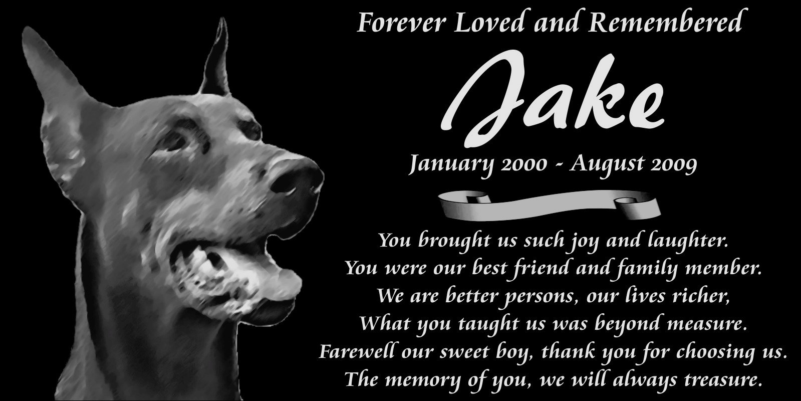 "Lazzari Collections Personalized Doberman Pinscher Dog Pet Memorial 12""x6"" Custom Engraved Black Granite Grave Marker Head Stone Plaque JAK11"
