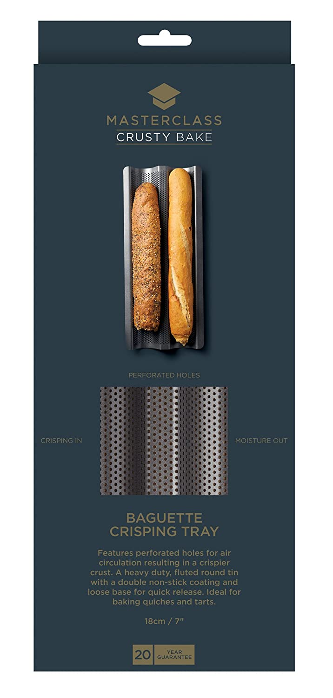 39 x 16 x 2.5 cm KitchenCraft MasterClass Crusty Bake  Non-stick Baguette Tray Grey