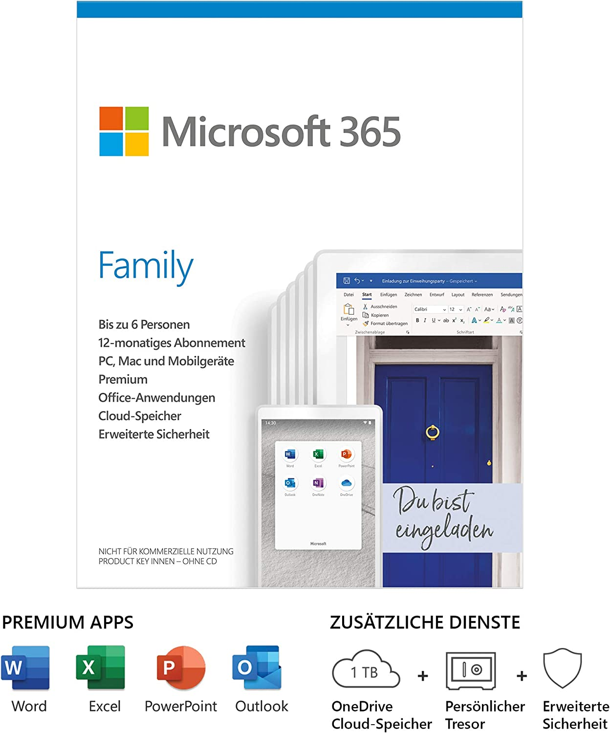 Microsoft Office 365 Family multilingual | 6 Nutzer | um 49,99€