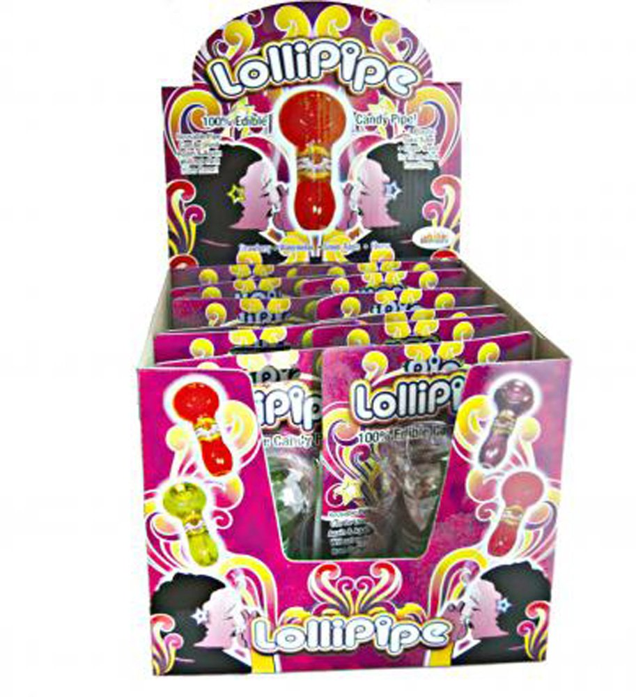 Lollipipes Edible Pipe Assorted Flavors - 12 Count With Display