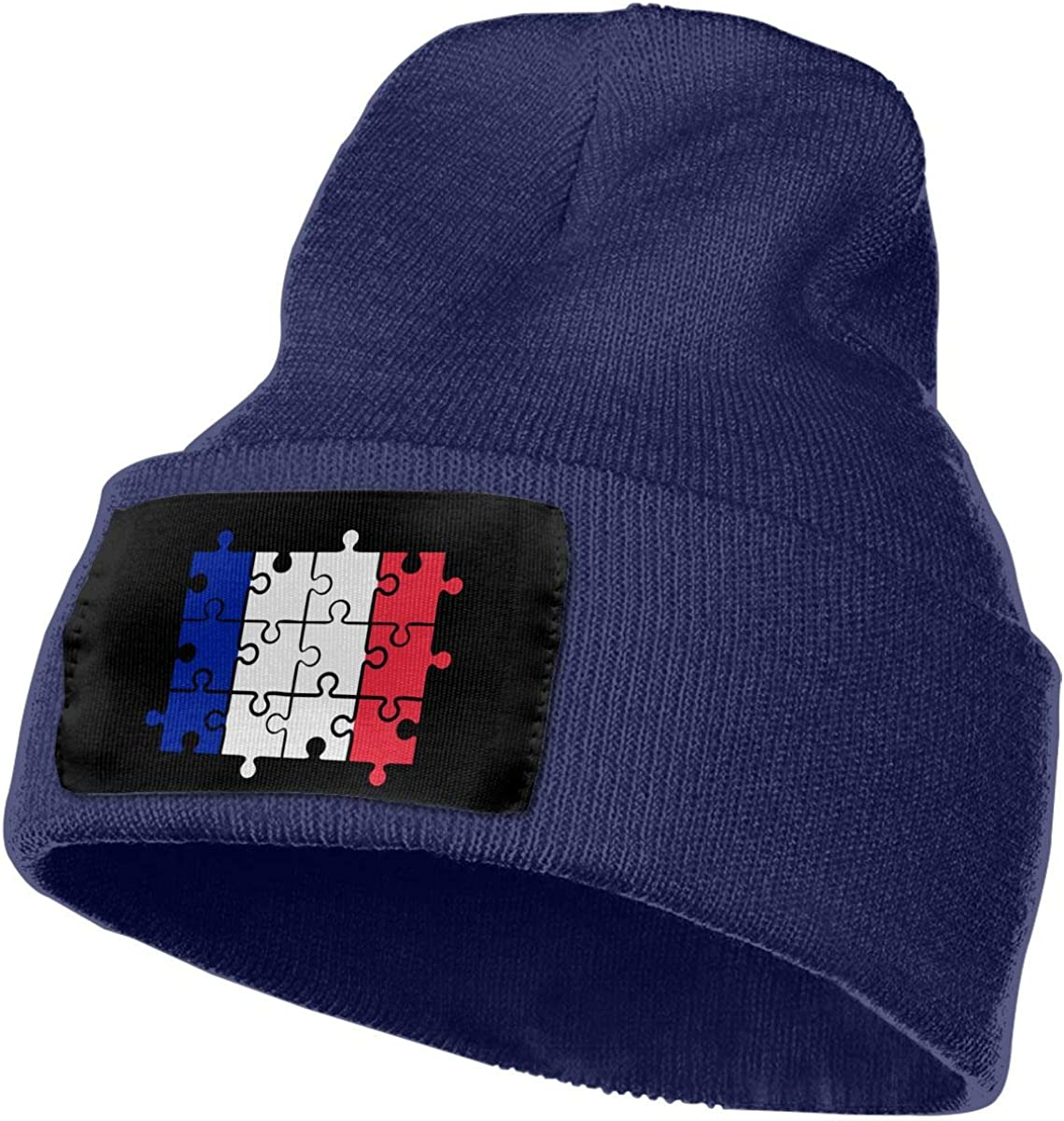 COLLJL-8 Unisex France Flag Puzzle Outdoor Fashion Knit Beanies Hat Soft Winter Skull Caps