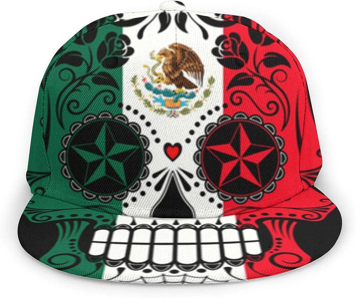 Mexican Flag Sugar Skull Girl Washed Denim Cotton Baseball Cap Sport Outdoor Adjustable Hats