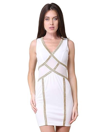 31287db6ec502 Miss Coquines - Robe tendance - Femme - Robes - l - blanc  Amazon.fr   Vêtements et accessoires