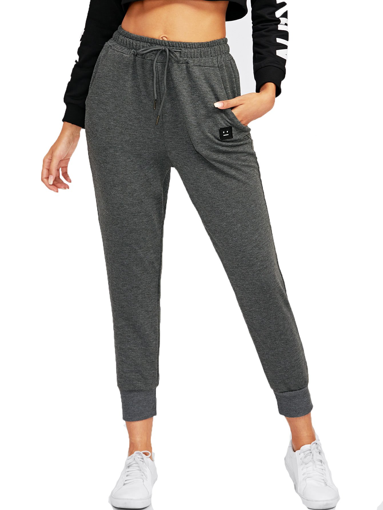 SweatyRocks Women's Sweatpants Yoga Workout Athletic Joggers Pants with Pockets (X-Large, Dark Grey#)
