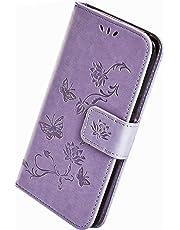 Herbests Compatibile con Samsung Galaxy A20S Cover, Custodia Wallet Cover Fiori di Loto Farfalla Goffratura Elegante Custodia PU Pelle con Supporto di Stand e ID Slots, Viola