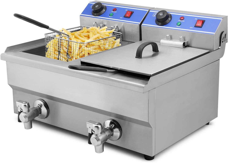 Moracle Freidora Eléctrica Profesional 6000W Freidora 20L Freidora de Patatas Fritas con Cubas Dobles y Temporizador: Amazon.es: Hogar