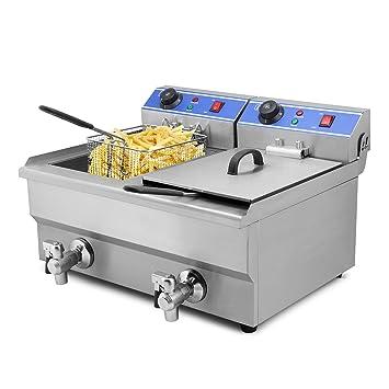 Autocompra Freidora Eléctrica 20L 5000W Freidora Industrial Acero Inoxidable para Patatas Fritas Deep Fryer Commercial Con