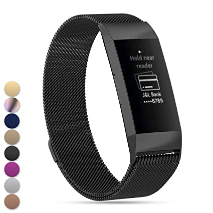 Amazon com : Feskio Fitbit Charge3 Band, Magnet Lock Stainless Steel