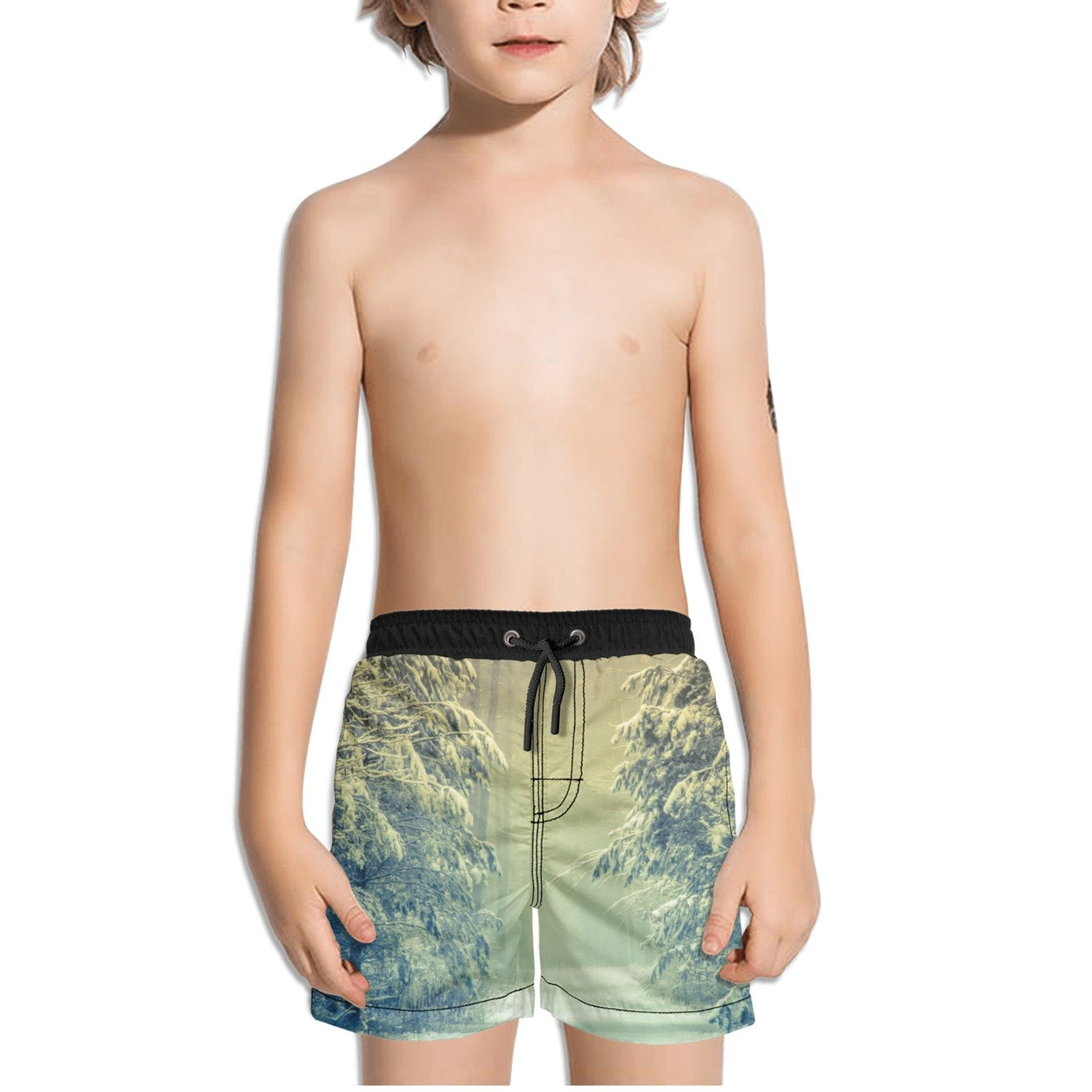 Ouxioaz Boys Swim Trunk Winter Forest Beach Board Shorts