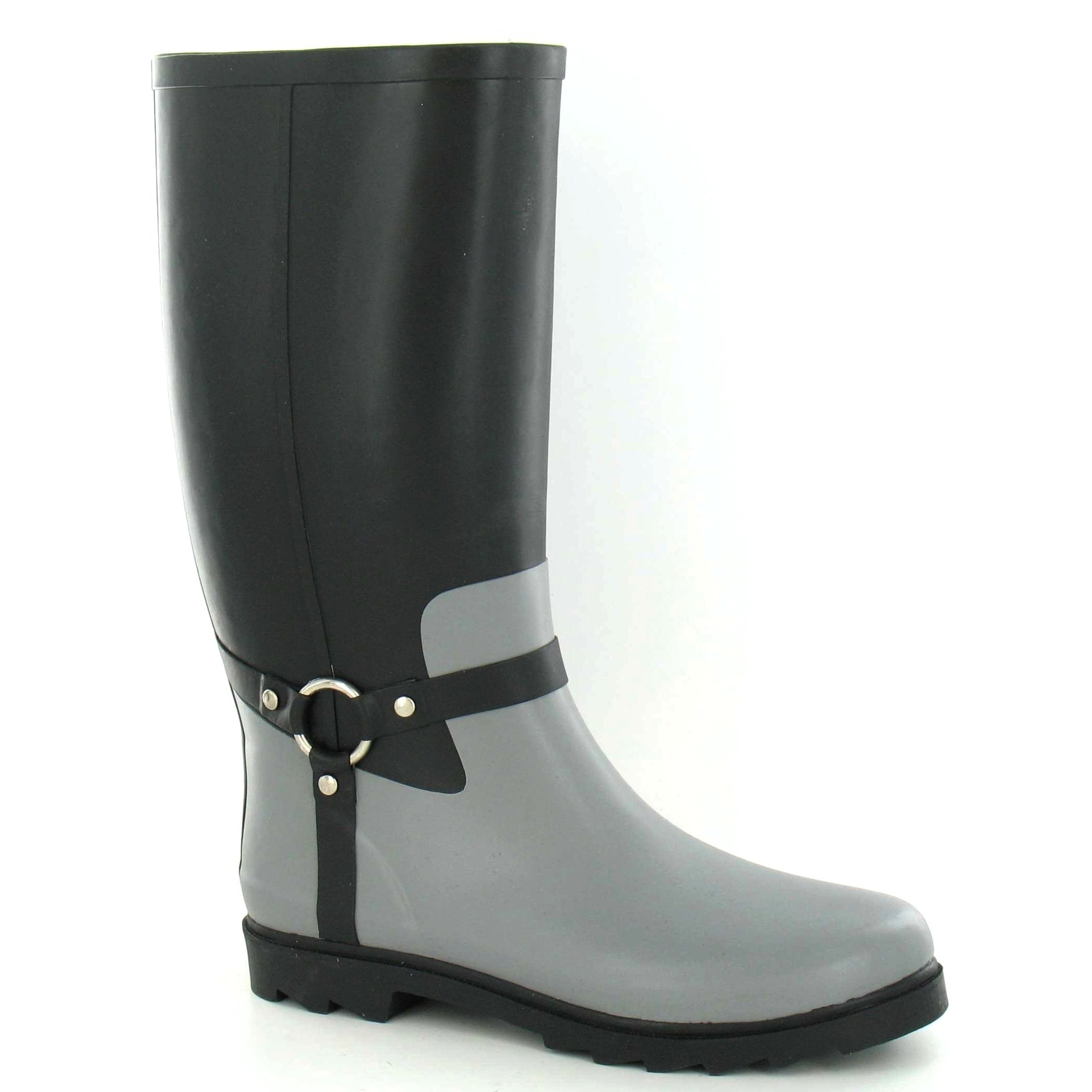 Spot On Mens Ring Strap Rubber Wellington Boots (8 US) (Black/Gray)