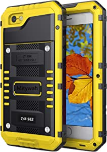 Mitywah Waterproof Case for iPhone SE 2020, Heavy Duty Military Grade Armor Metal Case, Full Body Protective Rugged Shockproof Thick Dustproof Strong Case for iPhone SE 2nd Generation, Yellow
