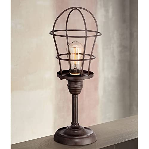 Modern Industrial Desk Table Lamp 17 1 4 High Bronze Wire Cage Antique Edison Bulb for Bedroom Bedside Office – Franklin Iron Works