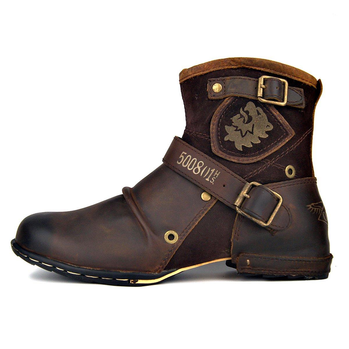OTTO ZONE Herren Worker Boots | Schnürstiefeletten Leder Optik | Blockabsatz Profilsohle | Schnürer Schuhe Schnallen | Schnürboots |OZ-5008-1 Braunes Fell
