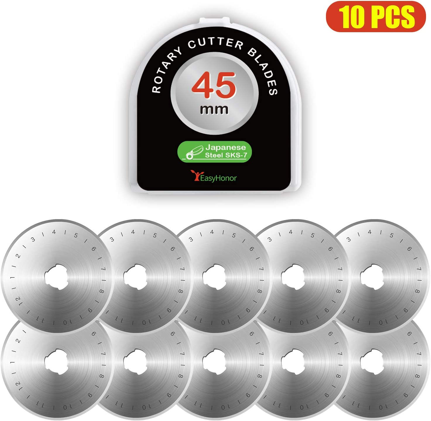 Rotary Cutter Blades 45mm by EasyHonor, Fits OLFA,DAFA,Fiskars,Truecut Replacement, Quilting Scrapbooking Sewing Arts Crafts,Great for Heavy Duty Use, Quilting, Patchwork, Crafts and Sewing. (10 Pcs)