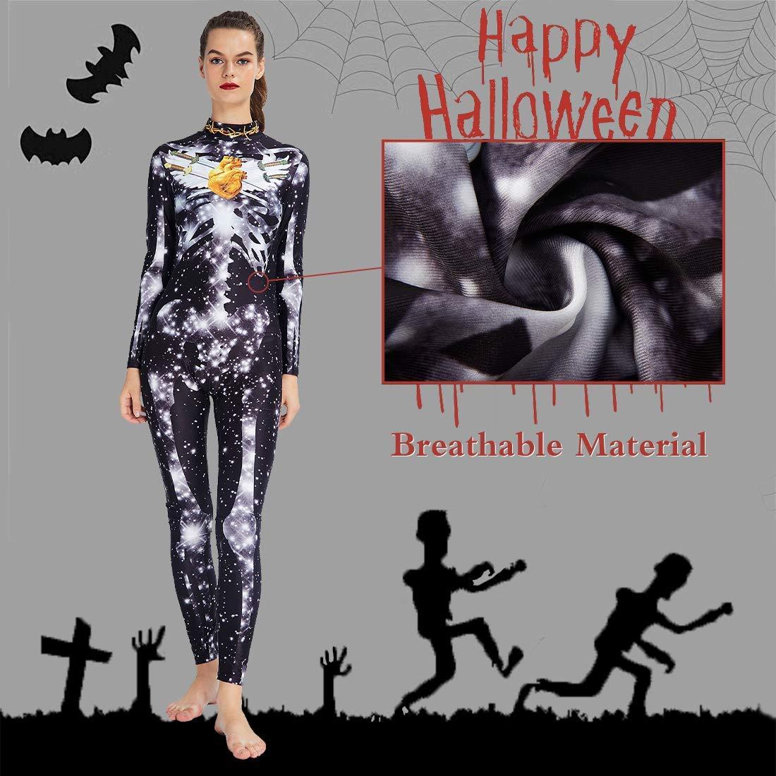 RAISEVERN Tuta da Notte Bianca con Stampa di Stelle Bianche Costume da Costume di Halloween Tuta per Donna Catsuit Manica Lunga Night Club Party