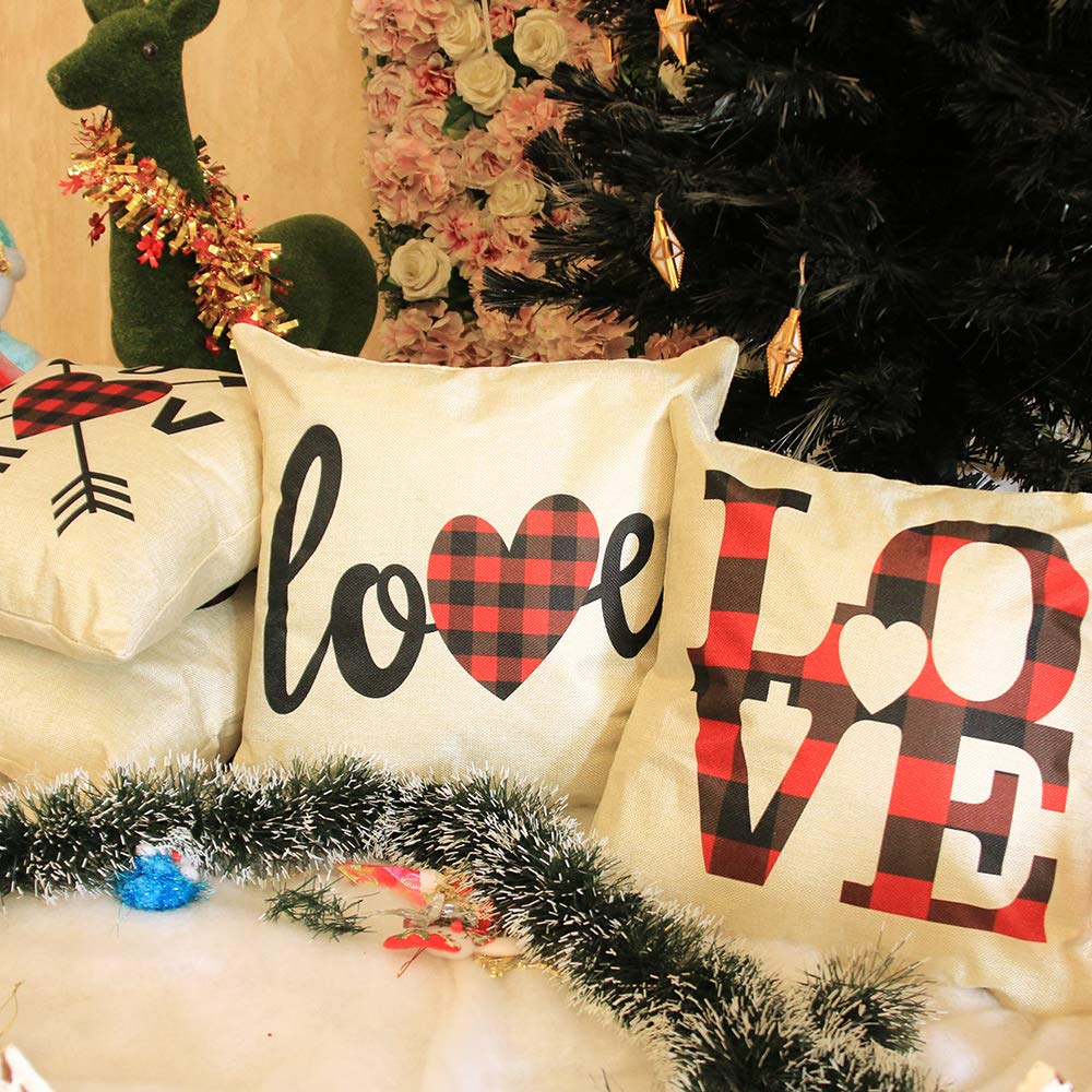 YEVIOR 4er Set Kissenbezug Weihnachten Valentinstag Liebhaberserie, Buffalo Plaid Dekorative 45 x 45 cm, Dekokissen Zierkissenbezüge für Wohnzimmer Schlafzimmer Dekor, Rot Schwarz Kariert,Leinen