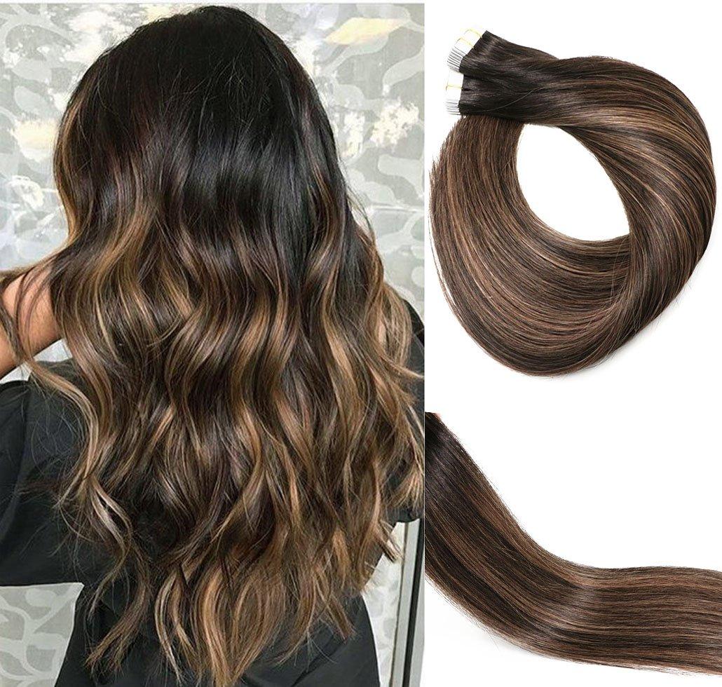 Extension per capelli Remy, 50 g, 35,6 – 56 cm, senza cuciture, colla, capelli dritti nel nastro per extensions. 6 - 56 cm vario