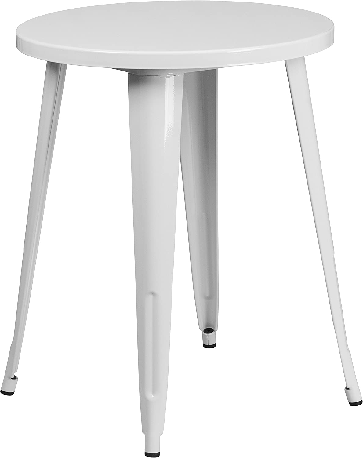 Flash Furniture 24'' Round White Metal Indoor-Outdoor Table