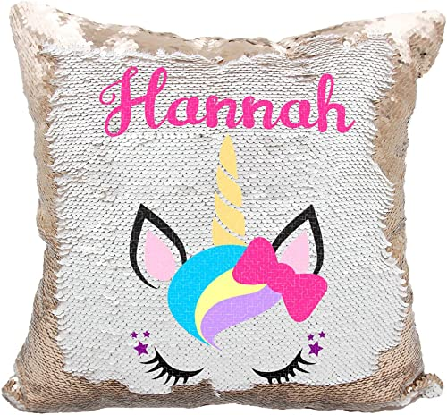 Personalized Mermaid Reversible Sequin Pillow, Custom Unicorn Bow Sequin Pillow White Rose-Gold