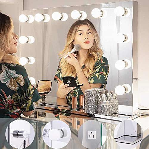 Chende Hollywood Light, Makeup Dressing Table Set Mirrors with Dimmer, Tabletop Vanity LED Bulbs Included 8065, Frameless