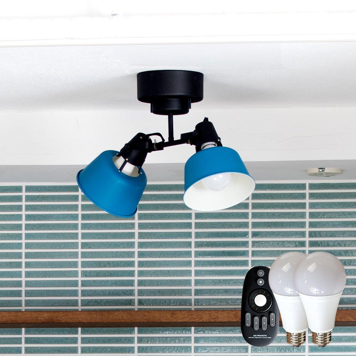 シーリングライト 2灯 CROWS(クロウズ) (リモコンLED電球セット, ブルー) B076BLSFZ4 ブルー リモコンLED電球セット